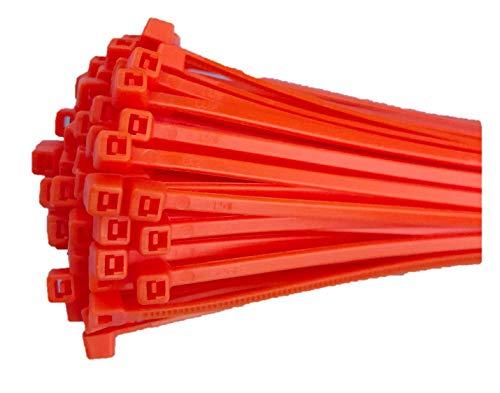 Fix&Easy Kabelbinders 2,5x100mm oranje 100 stuks set voor inkijkbescherming hek schaduwnet gaashek Tuingaas tuin omheining balkonleuningen zonwering