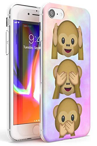 Case Warehouse Ver, oír, no Hablar Mal Slim Funda para iPhone 7 Plus TPU Protector Ligero Phone Protectora con Emoji Gracioso Mono Emojis Lindo
