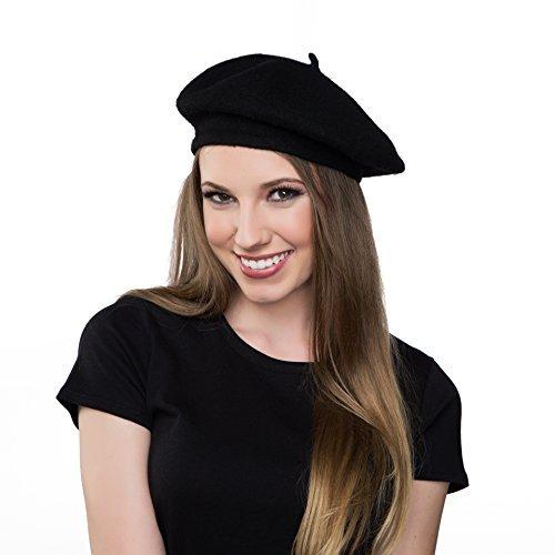 1f934062e464a Kangaroo Wool Black Beret Hat - French Beret