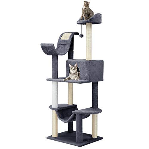 Finether Katzenmöbel Kratzbaum Katzenturm Katzenbaum Turm Katzenspielturm mit Sisal Kratzstämme Hängematte Sitzstangen Plattform baumelnder Ball 55W x 45D x 154 Hcm