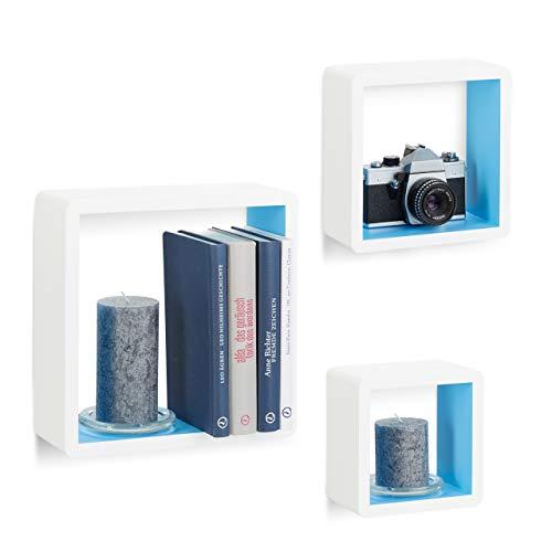 Relaxdays Juego de Estantes Cubo de Pared, Madera, Blanco y Azul, 10x27x27 cm, 3 Unidades