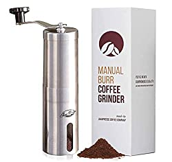 powerful JavaPress Manual Coffee Grinder with Adjustable Settings – Conical Bergliner and Matte Stainless Steel…