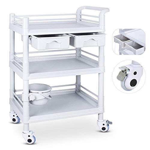 Carro de utilidad de servicio multifunción de 3 niveles,carro de herramientas ABS portátil,adecuado para hospitales,hoteles,residencias de ancianos,etc. ✅