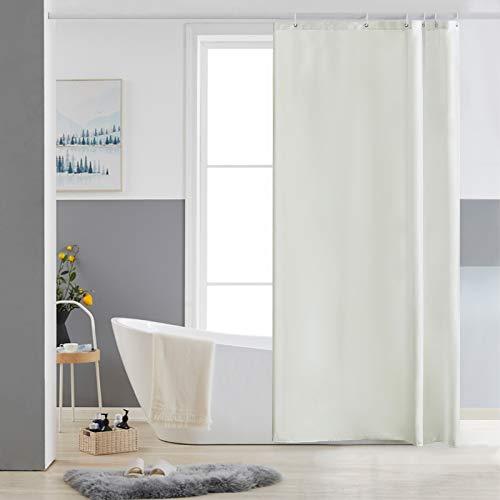 Furlinic Duschvorhang Antischimmel Waschbar Bad Vorhang Textil aus Polyester Stoff Wasserdischt für Eck Badewanne Beige Kleine 85x180 mit 6 Duschvorhangringen.