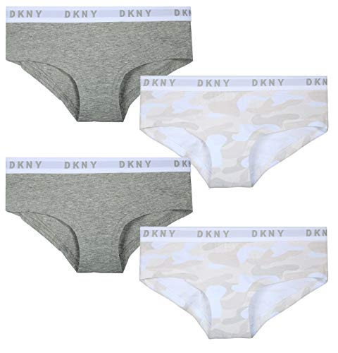DKNY Girls Cotton/Spandex Hipster Underwear (4 Pack) (Heather Grey/White Camo, Small / 6-7)