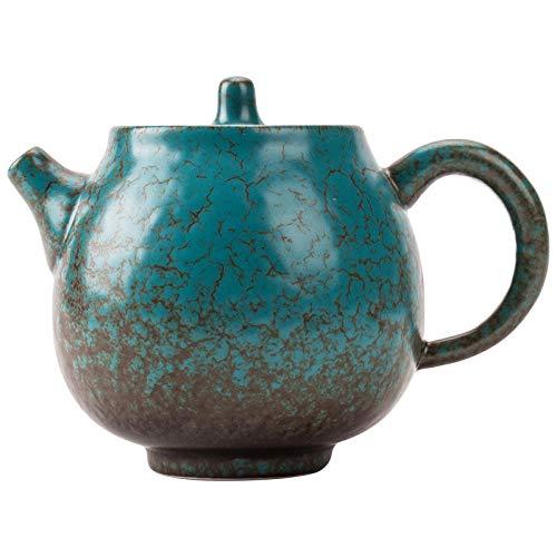 YJX Seitengriff Topf Türkis Glasur kleine Teekanne Haushalt Keramik Single Bubble Teekanne