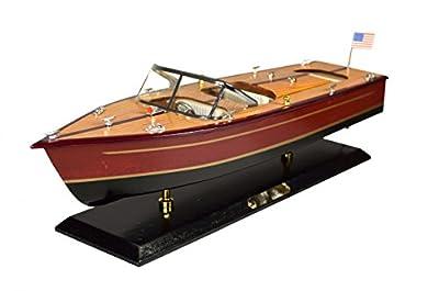 Navyline Maquette de bateau en bois avec support - Hors-Bord Américain - Longueur 51cm