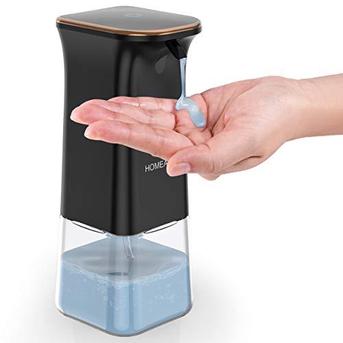 homeasy Seifenspender Schwarz No Touch Seifenspender 350ml mit Wandhaken Automatischer Soap Dispenser für Shampoo, Spülmittel und Flüssigseife geengnet