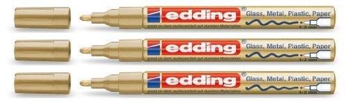 edding Glanzlack-Marker Creative 751 Gold, 1-2 mm (3er Pack)