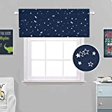 H.VERSAILTEX Blackout Energy Efficient Rod Pocket 52-inch by 18-inch Curtain Valance for Kitchen,Bath,Laundry,Bedroom,Living Room,Glitter Stars in Navy Base, 1 Piece