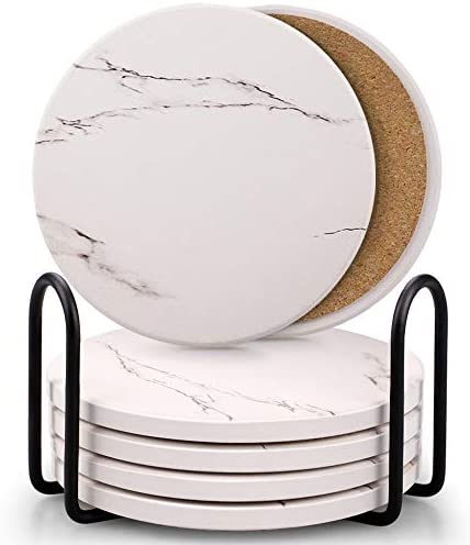 Coasters for Drinks Absorbent Ceramic Stone Coaster Set with Metal Holder Stand Cork Base Marble product image