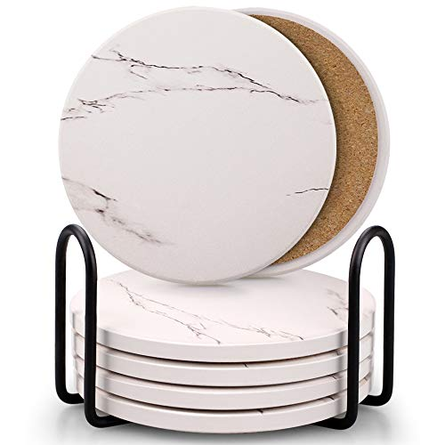 Coasters for Drinks, Absorbent Ceramic Stone Coaster Set with Metal Holder Stand, Cork Base, Marble Surface Pattern, Cups Place Mats for Home Decor, Set of 6 - White