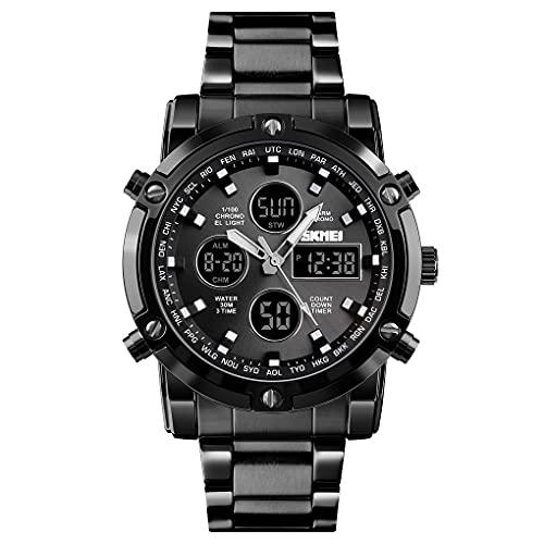 SKMEI/超重量級タフスポーツアナデジ腕時計/通勤/通学/カジュアル ステンレス1389 (ブラックxブラック)