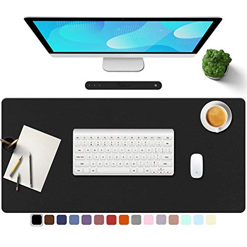 """TOWWI PU Leather Desk Pad with Suede Base, Multi-Color Non-Slip Mouse Pad, 32"""" x 16"""" Waterproof Desk Writing Mat, Large Desk Blotter Protector (Black)"""