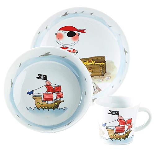 Kahla 32D200A76644C Kids Schatzpirat Porzellan Kindergeschirr-Set für Jungen Geschirr-Set bunt rund 3 teilig Set Tasse Suppenteller Teller