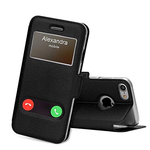 FYY Coque iPhone 8, Coque iPhone 7, Housse Magnetique Smart View avec Fenêtre d'Ouverture pour Apple iPhone 8/iPhone 7 Noir
