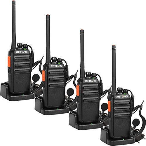 Retevis RT24 Portofoons Walkie Talkie met Headset PMR446 Vergunningsvrije 16 Kanalen CTCSS/DCS VOX Oplaadbaar Walkie Talkies met EU-stekker Laadstation en 1100 mAh Lithium-ionbatterij (2 Paar, Zwart)