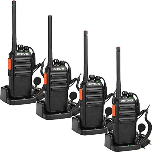 Retevis RT24 Walkie Talkie Ricaricabili PMR446 Licenza-Libero, Walkie Talkie Professionali, VOX 16 Canali CTCSS/DCS, Ricetrasmittenti Lunga Distanza con Auricolare (4 Pezzi, Nero)