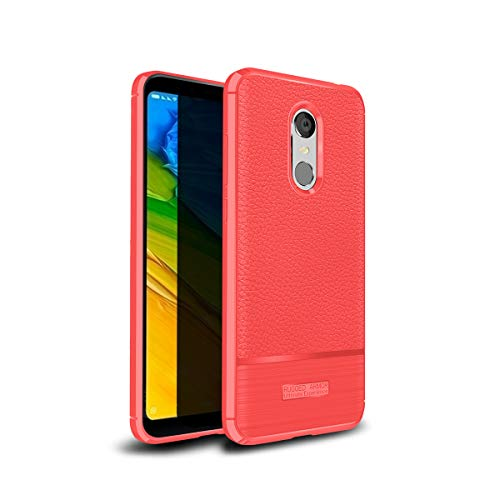SHENGSD Rugged Armor Xiaomi Redmi 5 Plus Case, Soft Flexible TPU Silicone Protective Cover for Xiaomi Redmi 5 Plus - Red