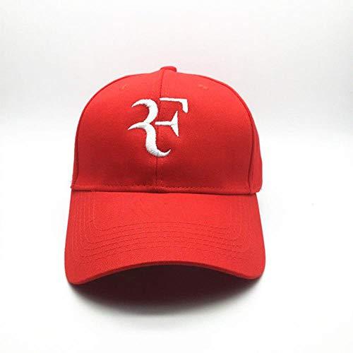 BINMLA Baseballmütze 3D Stickerei Unisex Baseballmütze Tennisstar Roger Federer Dad Hut Für Männer Frauen Sport Cotton Snapback Caps Tennis Hut F Kappen Rot