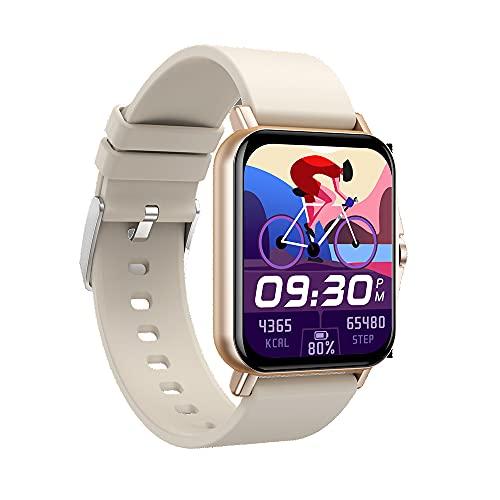 WANJUN Reloj Inteligente, Rastreador De Oxígeno En Sangre con Monitor De Frecuencia Cardíaca, Ip68 a Prueba De Agua, Smartwatch Compatible con Teléfonos iPhone, Samsung Y Android,Oro