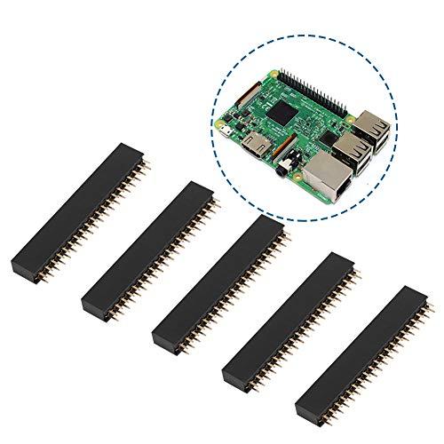 5 piezas 2 x 20 pines estable doble fila durable 2,54 mm sin cabeza enchufe corto, conector de cabeza hembra para la electrónica de tarjeta PCB.