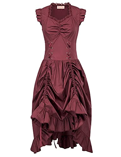Belle Poque Women Steampunk Victorian Punk Pirate Dress Gothic Costume Wine 2XL