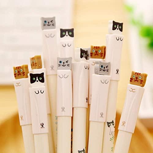 12 PCS Cute Cat Gel Ink Pens Toshine 0.38 mm Gel Pens Black Ink Ball Point Pens for School Office Supplies
