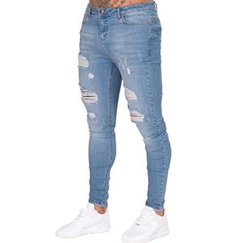 Jeans Slim Fit da Uomo Autunno Strappati Classici Comodi Pantaloni di Jeans lavati Elasticizzati con abbottonatura con Cerniera L