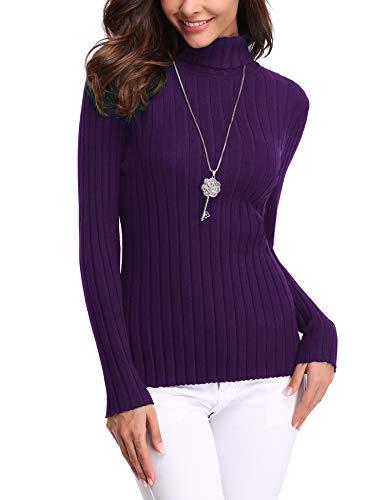 Aibrou Damen Elegant Pullover Strickwaren Rollkragenpullover Hals Langarm Ribbed Strick Pullover Tops, Violett, S