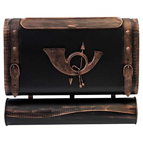 Wandbriefkasten 'Posttasche' mit Zeitungsrolle im Antik-Look Metall Schwarz/Bronze Nostalgie-Design Postkasten Zeitungsfach Zeitungsbox