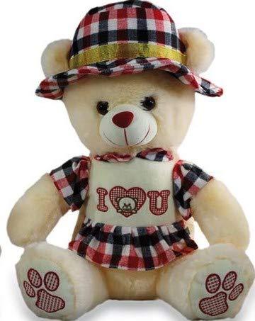 LOYFER Osito de Peluche para Bebe de29cm- Osito Peluche tierno con Sombrero Dia de los Enamorados (Rojo)