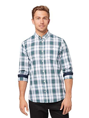 TOM TAILOR Herren Blusen, Shirts & Hemden Kariertes Hemd Green White Check,S