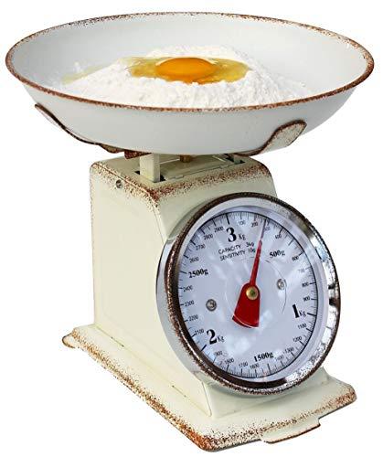 DanDiBo keukenweegschaal, analoog, mechanisch, met kom tot 3 kg, vintage, beige, Tara-functie