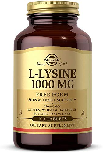 Solgar L-Lysine 1000 mg, 100 Tablets - Enhanced Absorption and Assimilation - Promotes Integrity of Skin and Lips - Collagen Support - Amino Acids - Non GMO, Vegan, Gluten Free - 100 Servings