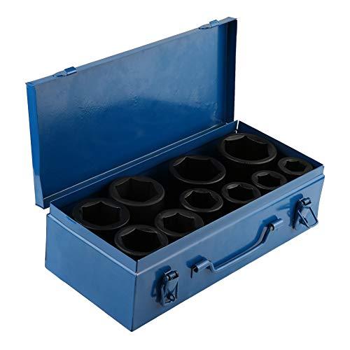 Steckschlüssel-Satz mit Steckschlüsseleinsatz, tief, 10 Pcs Steckschlüssel für Schlagsteckdose, Tiefe 22 mm bis 50 mm