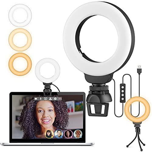 Anillo de Luz Videoconferencia, 4' Aro de Luz con Trípode y Clip para Laptops, Webcam, Cámaras y Teléfonos Móviles, 3 Modos de Iluminación y 10 Brillos