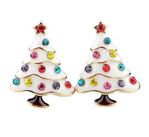 CAOLATOR Pendientes Forma de Árbol de Navidad Pendientes Mujer de Diamante Cristal Decoración del Partido Aretes...