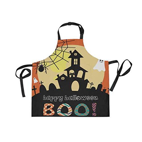 Pag Crane Delantales de Castillo Fantasma de Halloween para Mujeres, Hombres, Babero Ajustable con Bolsillos para el hogar, Cocina, Chef, Parrilla, Barbacoa, jardinería