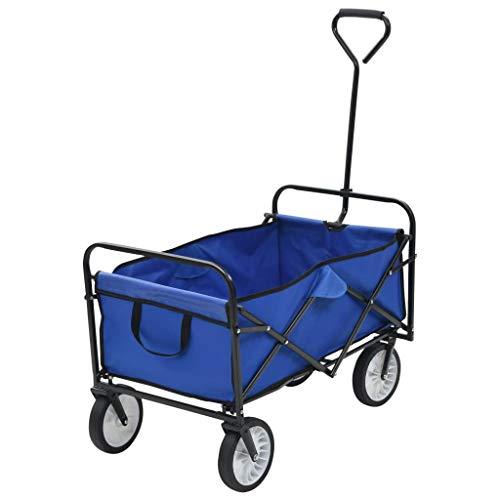 vidaXL Chariot à Main Pliable Acier Tissu Bleu Chariot de Transport Jardin