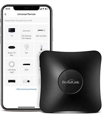 BroadLink Telecomando universale IR e RF – WiFi Smart Remote per domotica, TV, motore di tendina, condizionatore, ventola, funziona con Alexa, Google Assistant, IFTTT (RM4 Pro)
