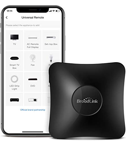 BroadLink IR/RF Smart Home Hub-WiFi IR/RF Blaster for Home Automation, TV, Curtain, Shades Remote, Smart AC Controller, Works with Alexa, Google Assistant, IFTTT (RM4 pro)