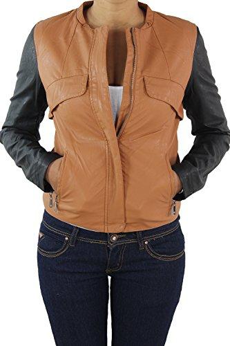 Sotala Damen Lederjacke Kunstlederjacke Leder Jacke Damenjacke Jacket Bikerjacke Vier Modelle Braunschwarz M