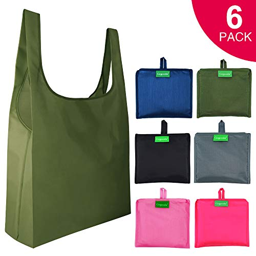 6 Pcs Reusable Grocery Bags Heavy Duty Shopping Merchandise Bags with Foldable into Attached Pouch Design Ripstop Grocery Tote Moss Pink Rose Black Gray Navy Blue