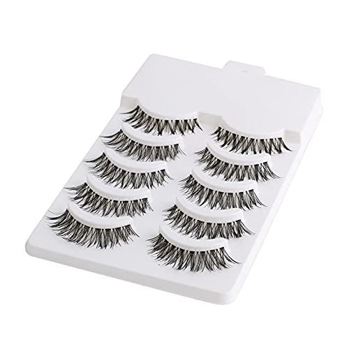 HUBAN 5 Pares de Maquillaje de Belleza Medio Mini Negro Esquina Instrumentos de extensión del Maquillaje Pestañas Falso Mujeres Ojo de Las pestañas Naturales de Belleza Ojos (Length : Mix)