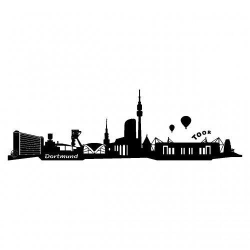 Skyline4u Wandtattoo Dortmund Skyline mehrere Größen in 6 Größen und 19 Farben (50x15cm schwarz)
