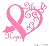 UR Impressions Pnk Cancer Awareness Ribbon Heart Butterfly Vine - Life Hope Decal