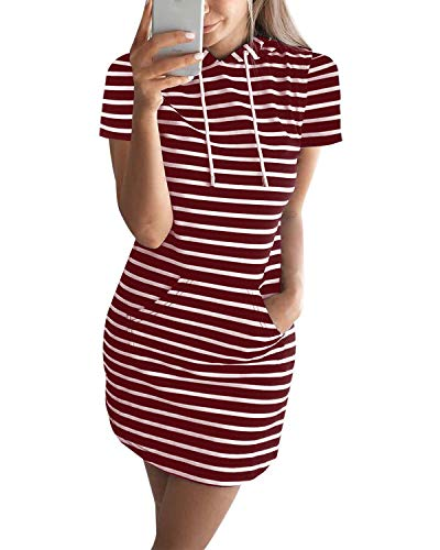 Auxo Mujer Vestido Sudadera Manga Corta Sudadera con Capucha Larga Verano Deportivo Rayas Talla Grande Túnica Camisa Larga Moda X-Vino Rojo M