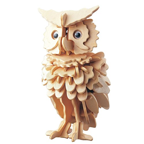 TOYMYTOY 3D Wooden Animal Puzzles Owl Jigsaw Puzzles 3D DIY Assembly Model Toy for Kids and Adults