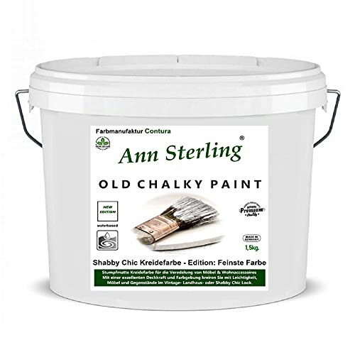 1,5 Kg Ann Sterling Kreidefarbe Shabby Chic Farbe: Chalky White/Weiß Lack Chalky Paint 1.5 Kilo / 1 Liter